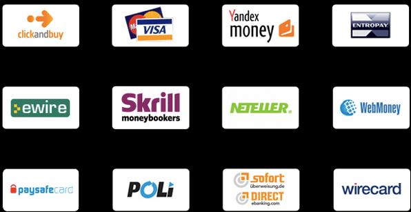 Auswahl einiger Zahlungsmethoden