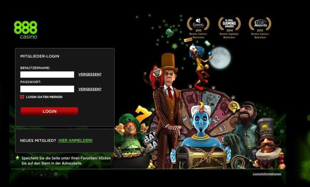 Anmeldung für 888 Casino Spiel.