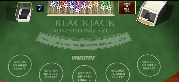 Demo Blackjack online bei Winner.