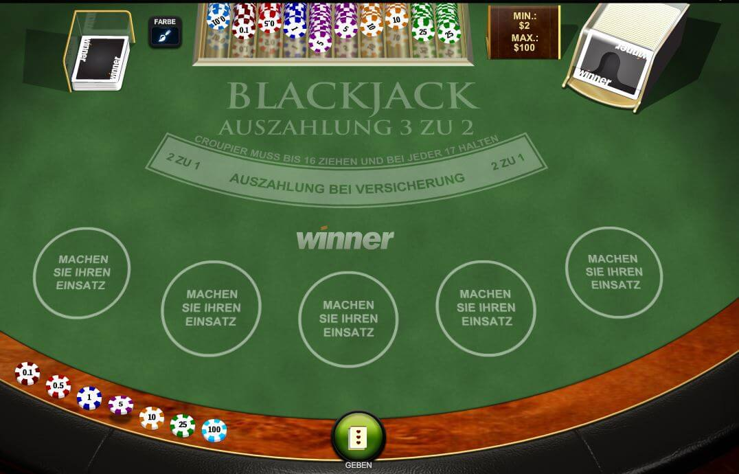 Demo Blackjack online bei Winner