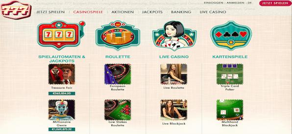Spielangebot 777 Casino