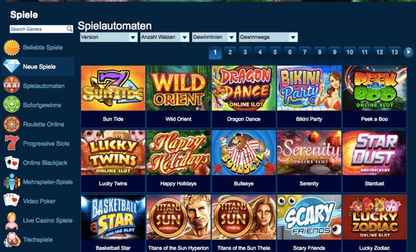 Spielauswahl Slotmaschinen im Casino