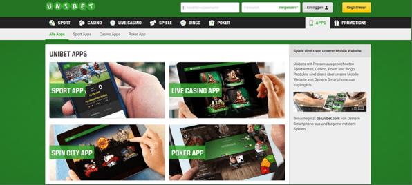 Die Apps von Unibet im mobile casino