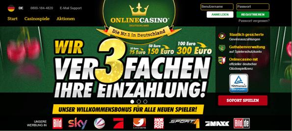 Die Webseite von OnlineCasino.de