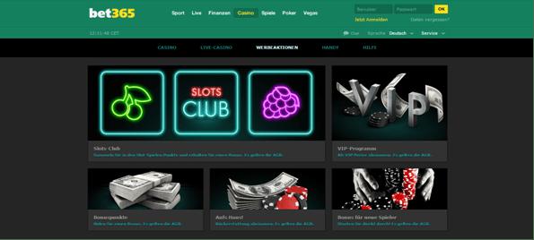 Die Webseite von bet365