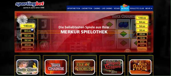 Die Startseite von Sportingbet