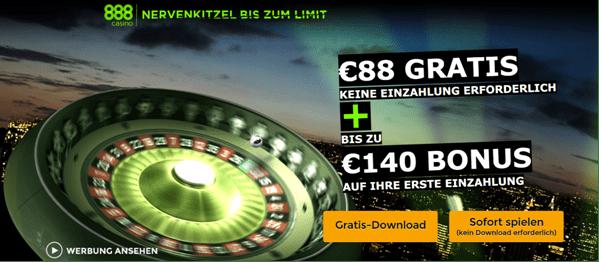 Der Willkommensbonus von 888 Casino