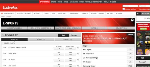 Die eSports Wetten bei Ladbrokes