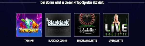 Promo-Spiele für Casino Bonus