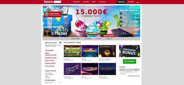 Startseite des Tipico Casinos
