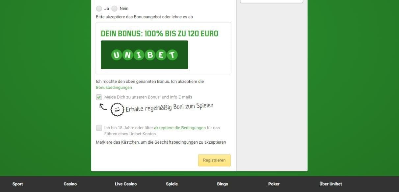 Unibet Casino Bonus akzeptieren