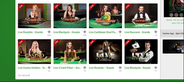 Die Live Casino-Spiele von Unibet