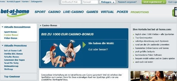 Willkommensbonus des bet-at-home Casino auf bet-at-home.com
