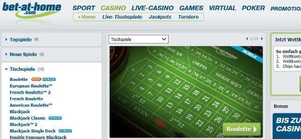 Das Roulette-Tisch-Angebot auf bet-at-home.com