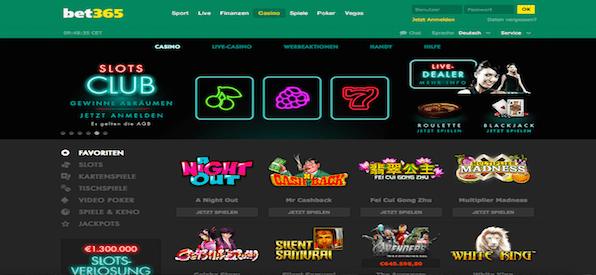 Startseite vom bet365 Casino