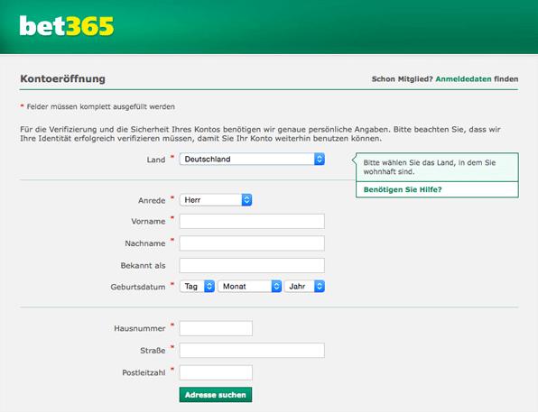 Anmeldeformular für das bet365 Casino