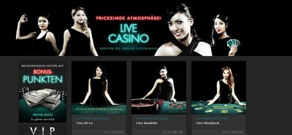 Das Live-Casino wird von Dealern aus Europa und Asien moderiert.