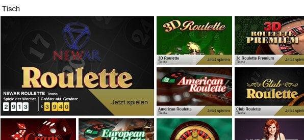 Das Roulette-Tisch-Angebot auf betfair.com/de