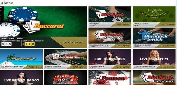 Das Betfair Casino Kartenspiele decken eine weite Bandbreite ab