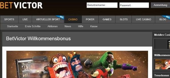 Willkommensbonus des BetVictor Casino auf betvictor.com
