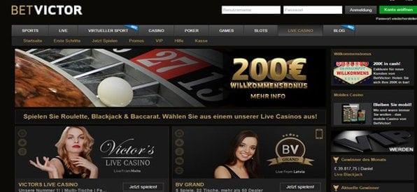 Das BetVictor Live Casino lockt mit lukrativen Gewinnen.
