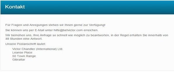Der BetVictor Kundensupport ist nicht per Hotline zu erreichen.