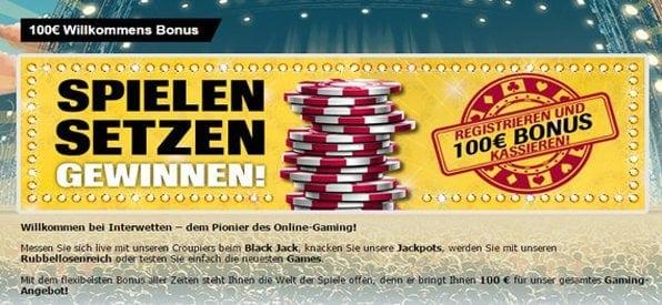 Das Interwetten Casino bietet einen fairen Neukundenbonus an.