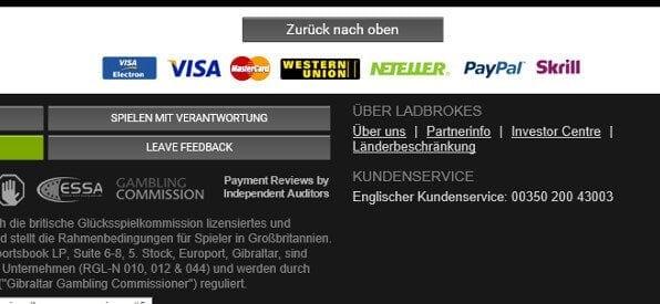 Zahlungsmethoden-Übersicht im Online-Casino von Ladbrokes