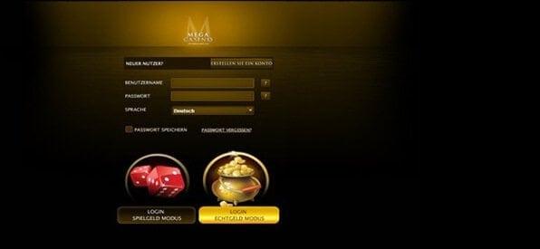 So schnell meldet man sich im Mega Casino an.