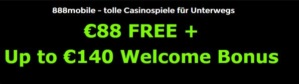 Testsieger im mobilen Casino Boni ohne Einzahlung: 888Casino