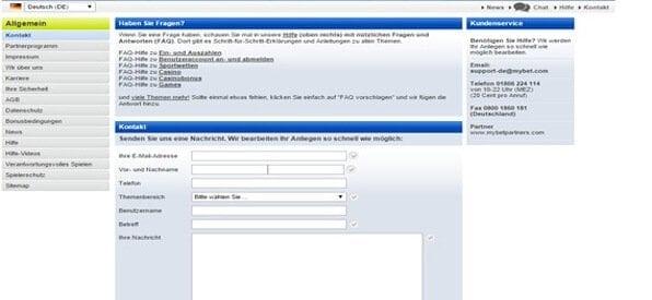 Der Mybet Kundenservice ist über Hotline, Live-Chat und Email zu erreichen.