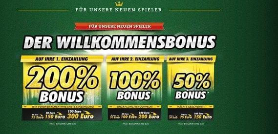 Onlinecasino.de bietet einen gestaffelten Willkommensbonus.