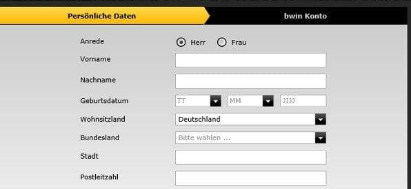 Anmeldeformular auf casino.bwin.com/de