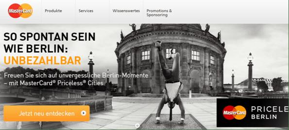 Die Homepage von MasterCard