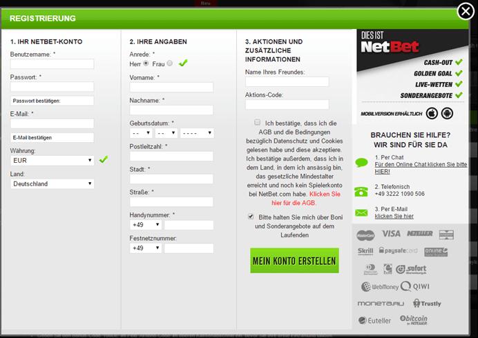 NetBet Registrierungsfenster