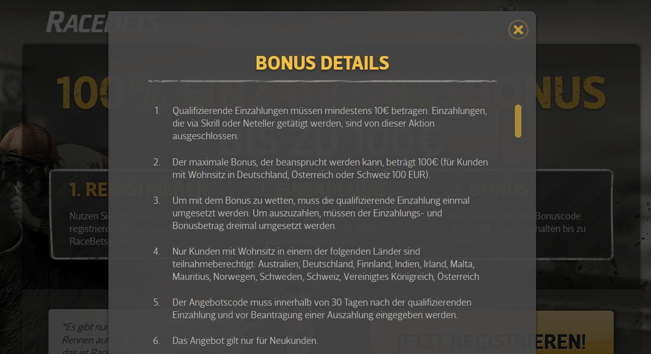 Screenshot Bedingungen RaceBets Wettbonus