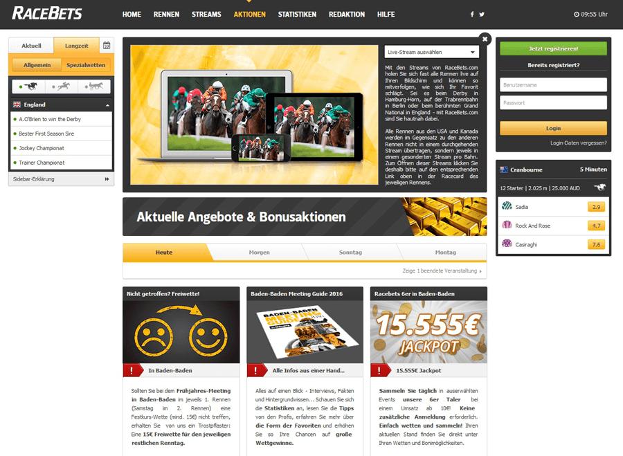 Screenshot RaceBets Spezial-Veranstaltungen