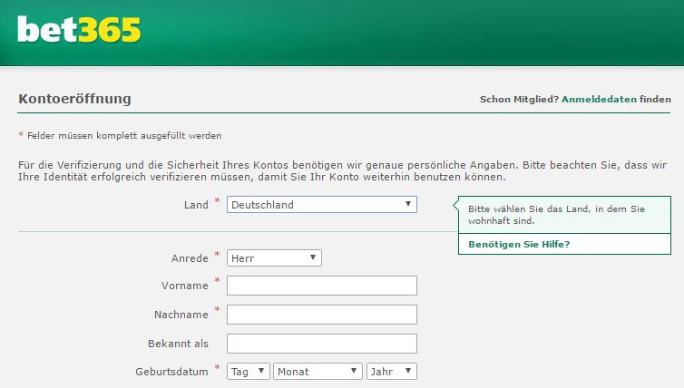 bet365 Registrierung