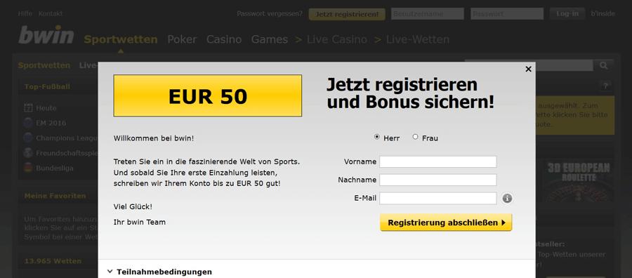 Screenshot bwin 50 Euro Prämienaktion