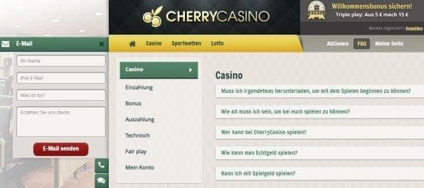 Der Cherry Casino Kundendienst steht per Live-Chat, Email und Hotline zur Verfügung.