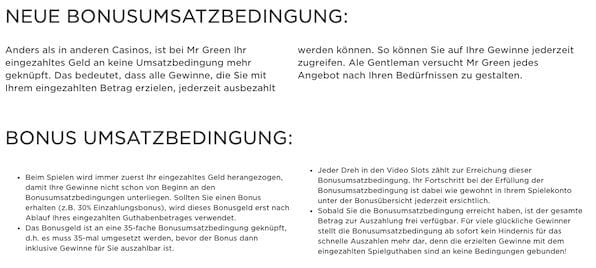 Die Mr. Green Casino Bonusbedingungen.