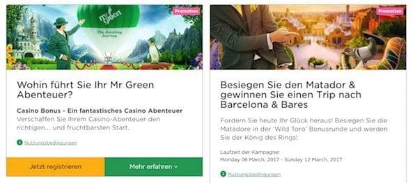 Alle Kunden können von den Mr. Green Casino Promotion Aktionen profitieren.