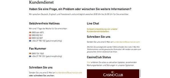 CasinoClub Kundensupport