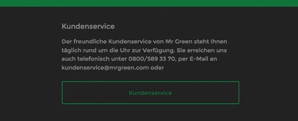 Der Mr Green-Casino Kundensupport