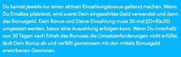 Wunderino Bonus Auszahlung