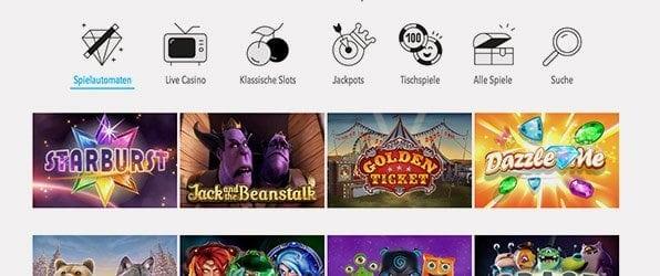 Wunderino Casino Spieleangebot