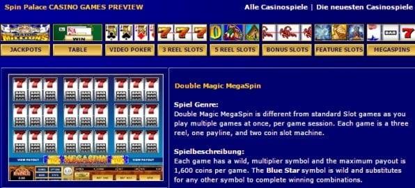Spin Palace Casino Spieleangebot