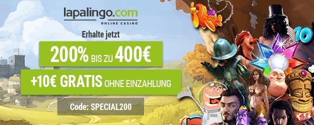 Exklusiver Lapalingo Bonus 10€ ohne Einzahlung + 200% bis zu 400€ Einzahlungsbonus