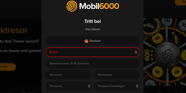 Mobil6000 Registrierung