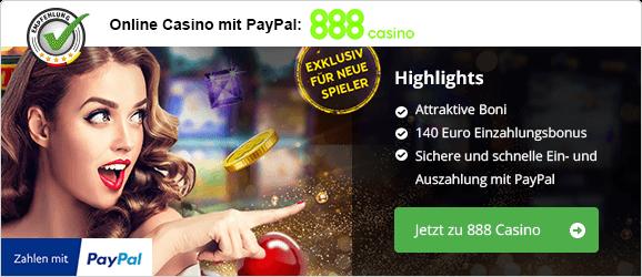 Der 888 Paypal Bonus - 140€ für Neukunden